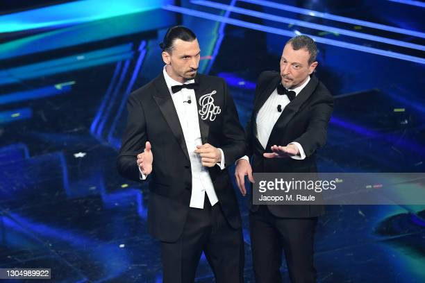 Zlatan Ibrahimović and Amadeus at the 71th Sanremo Music Festival 2021 at Teatro Ariston on March 02, 2021 in Sanremo, Italy.