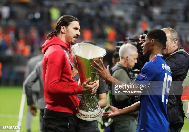 Zlatan Ibrahimovi ant Marcus Rashford during the UEFA Europa League Final between Ajax and Manchester United at Friends Arena on May 24 2017 in...