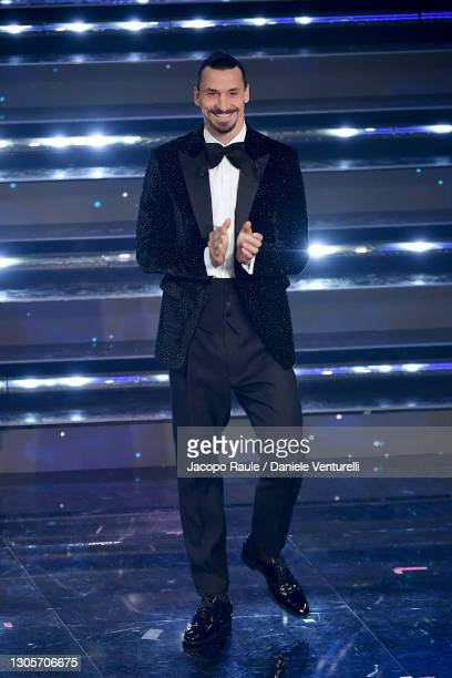 Zlatan Ibrahimović is seen on stage during at the 71th Sanremo Music Festival 2021 at Teatro Ariston on March 06, 2021 in Sanremo, Italy.