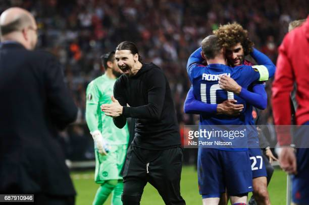 Zlatan Ibrahimovi of Manchester United celebrates after the victory during the UEFA Europa League Final between Ajax and Manchester United at Friends...