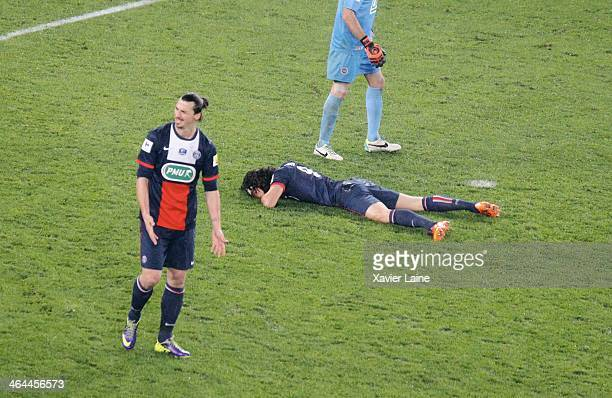 Zlatan Ibrahimovic and Edinson Cavani of Paris SaintGermain is dispointed after defeact during the French Cup match between Paris SaintGermain FC and...