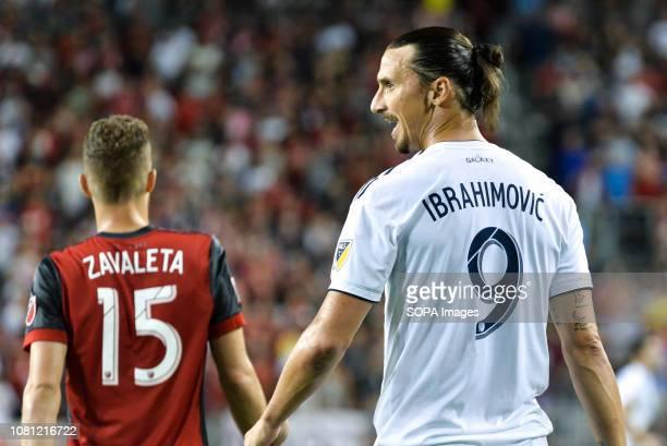BMO FIELD TORONTO ONTARIO CANADA Zlatan Ibrahimovic and Eriq Zavaleta during 2018 MLS Regular Season match between Toronto FC and LA Galaxy at BMO...