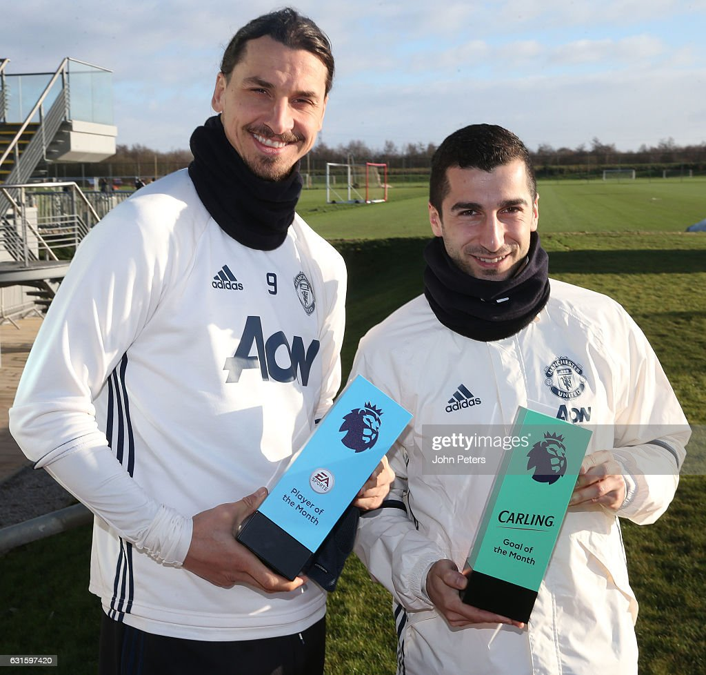 Premier League Player and Goal of the Month Award are Presented to Zlatan Ibrahimovich and Henrikh Mkhitaryan : News Photo