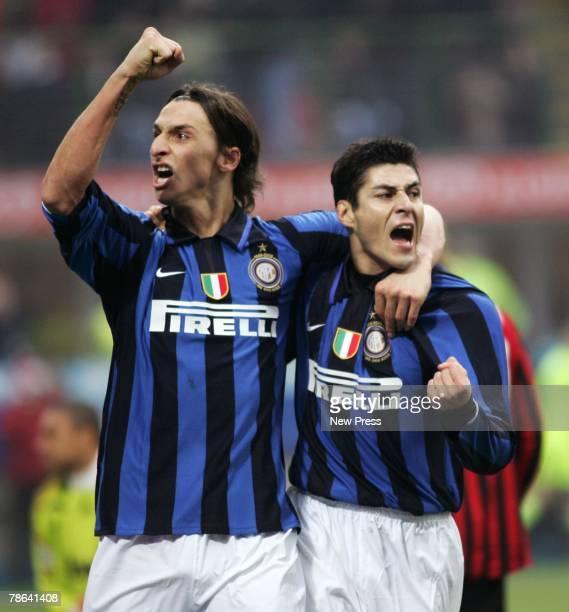 Zlatan Ibrahimovic and Julio Cruz of Inter Milan celebrate after Cruz had scored a goal during the Serie A match between Inter Milan and AC Milan at...