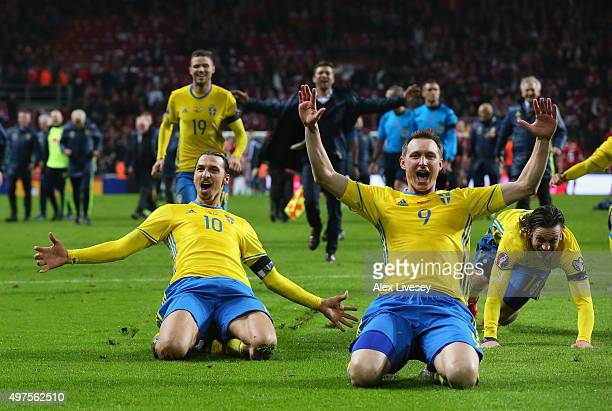 Zlatan Ibrahimovic and Kim Kallstrom of Sweden celebrate after the UEFA EURO 2016 Qualifier PlayOff Second Leg match between Denmark and Sweden at...