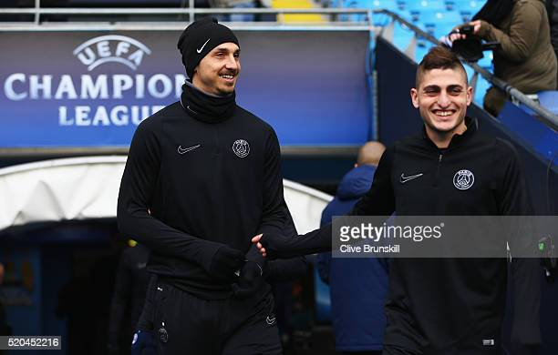 Zlatan Ibrahimovic and Marco Verratti of Paris SaintGermain walk out for a training session ahead of the UEFA Champions League Quarter Final Second...
