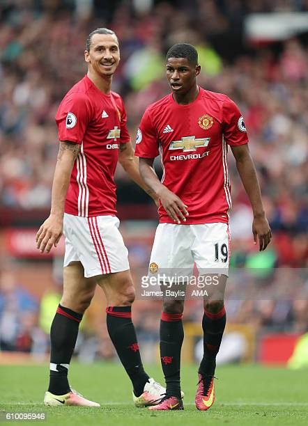 Zlatan Ibrahimovic and Marcus Rashford of Manchester United during the Premier League match between Manchester United and Leicester City at Old...
