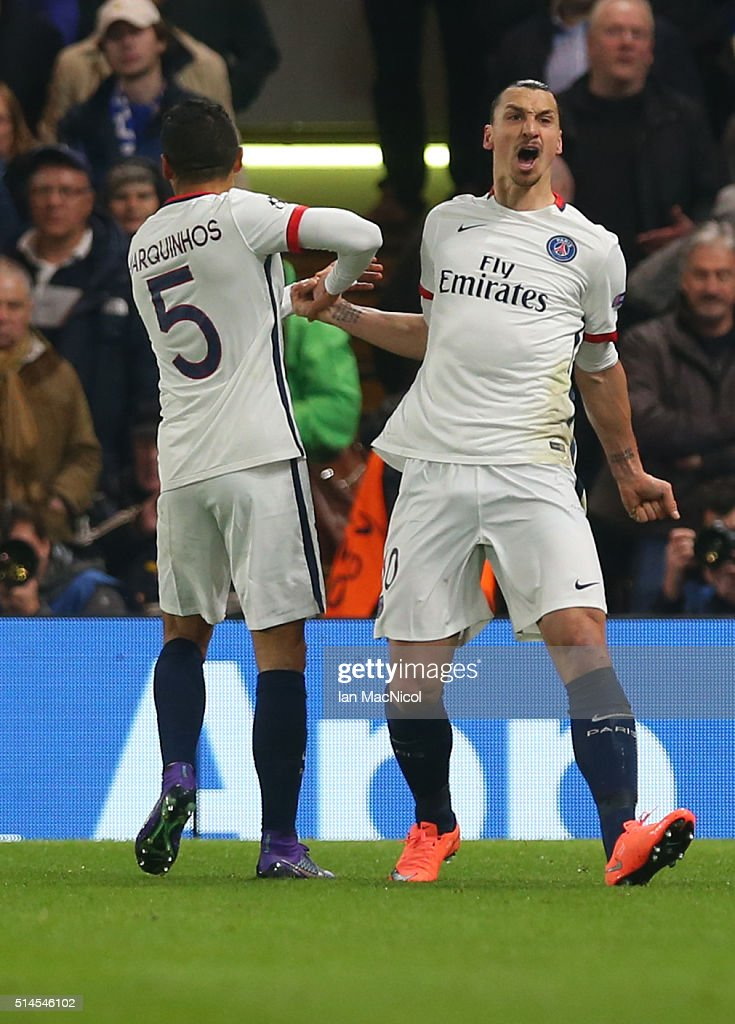 Zlatan Ibrahimovic and Marquinhos celebrate after Adrien Rabiot of Paris Saint Germain scores the opening goal during the UEFA Champions League Round of 16 Second Leg match between Chelsea and Paris Saint-Germain at Stamford Bridge on March 09, 2016 in London, England.