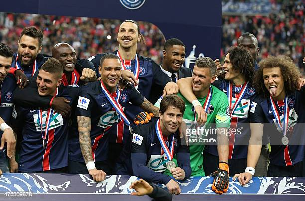 Zlatan Ibrahimovic and teammates of PSG celebrate the victory after the French Cup Final between Paris SaintGermain and AJ Auxerre at Stade de France...