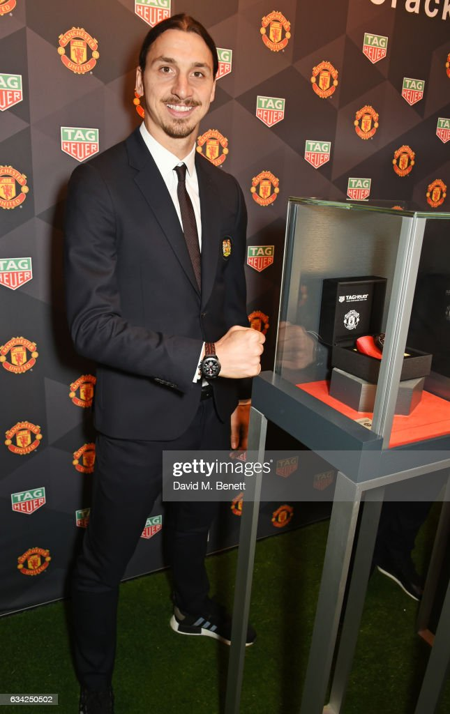 Zlatan Ibrahimovic attends the launch of the TAG Heuer Manchester United partnered special editions at Old Trafford on February 8, 2017 in Manchester, England.