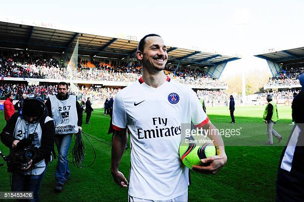 Zlatan Ibrahimovic celebrates PSG winning their fourth consecutive Ligue 1 title after the French Ligue 1 match between ESTAC Troyes and Paris...