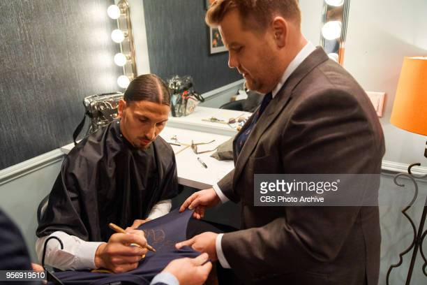 Zlatan Ibrahimovic chats in the green room with James Corden during 'The Late Late Show with James Corden' Wednesday May 9 2018 On The CBS Television...