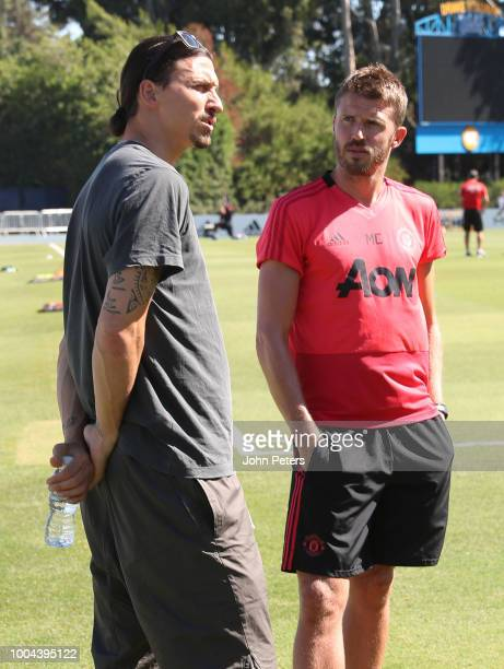 Zlatan Ibrahimovic chats to Michael Carrick during a Manchester United pre-season training session at UCLA on July 23, 2018 in Los Angeles,...