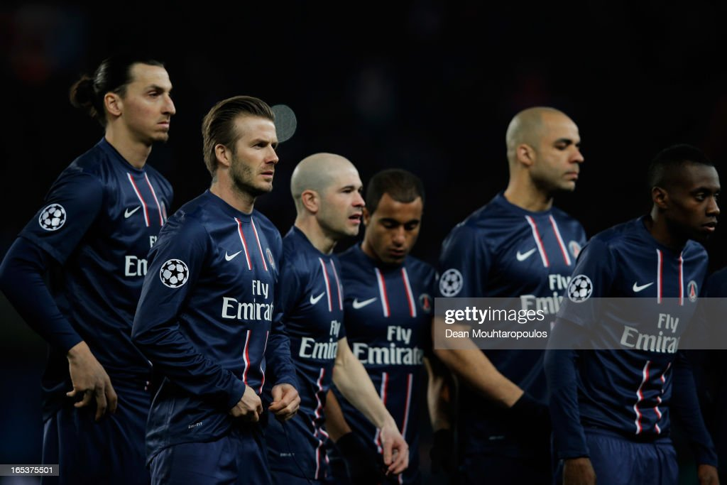 Zlatan Ibrahimovic, David Beckham, Christophe Jallet, Lucas Moura, Alex and Blaise Matuidi of PSG look on prior to the UEFA Champions League Quarter Final match between Paris Saint-Germain and Barcelona FCB at Parc des Princes on April 2, 2013 in Paris, France.