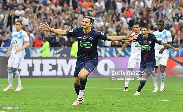 Zlatan Ibrahimovic during the final French Cup between Paris Saint-Germain and Olympique de Marseille at Stade de France on May 21, 2016 in Paris,...