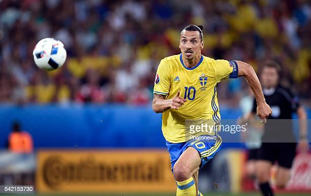 Zlatan Ibrahimovic forward of Sweden during the UEFA EURO 2016 phase final group E match between Sweden and Belgium at the Stade de Nice on June 22,...