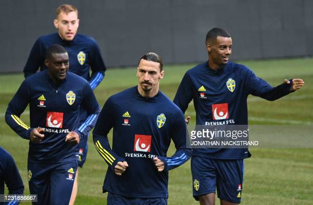 Zlatan Ibrahimovic , forward of Sweden's national football team, attends a training session with teammates on March 23, 2021 in Stockholm, prior to...