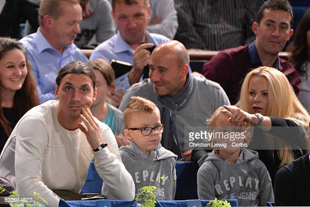 Zlatan Ibrahimovic his wife Helena and his children Vincent and Maximilian attend the semifinal match Novak Djokovic vs Roger Federer at the BNP...
