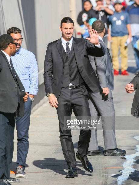 Zlatan Ibrahimovic is seen arriving at 'Jimmy Kimmel Live' on April 17 2018 in Los Angeles California