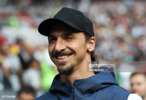 Zlatan Ibrahimovic is seen during the 2018 FIFA World Cup Russia group F match between Germany and Mexico at Luzhniki Stadium on June 17 2018 in...