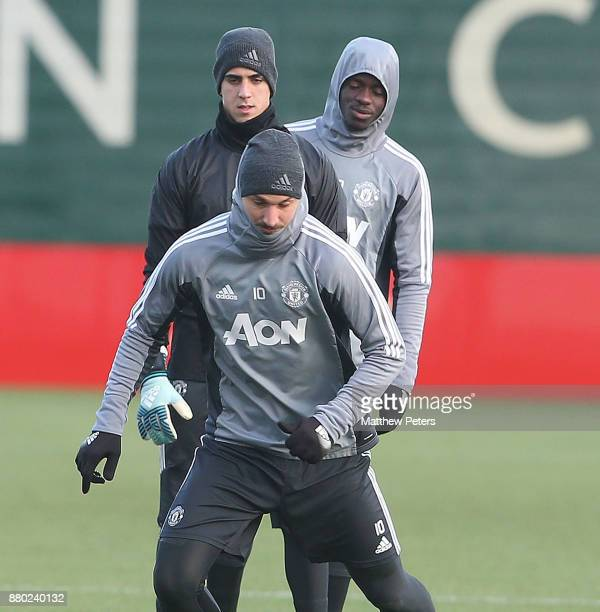 Zlatan Ibrahimovic Joel Pereira and Eric Bailly of Manchester United in action during a first team training session at Aon Training Complex on...