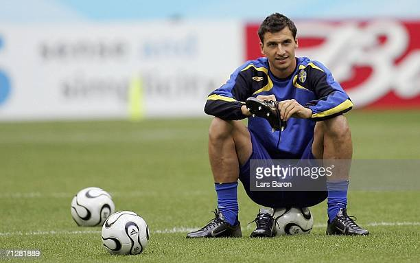 Zlatan Ibrahimovic looks on during the Sweden National Team training session at World Cup Stadium Munich on June 23 2006 in Munich Germany