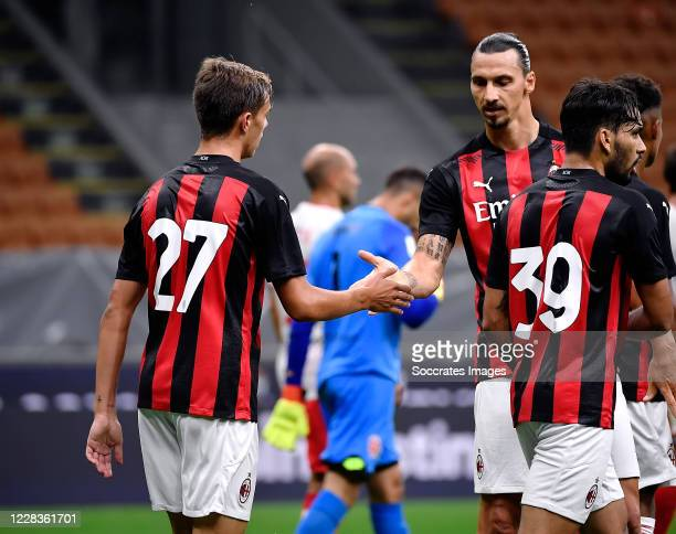 Zlatan Ibrahimovic of AC Milan and Daniel Maldini of AC Milan celebrates after scoring the goal during the Club Friendly match between AC Milan v AC...