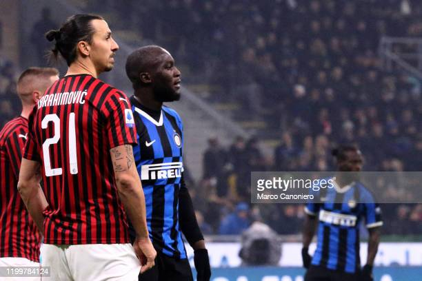 Zlatan Ibrahimovic of Ac Milan and Romelu Lukaku of FC Internazionale during the the Serie A match between Fc Internazionale and Ac Milan. Fc...