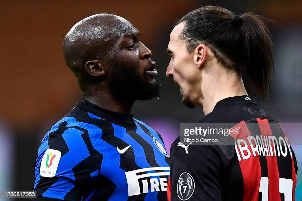 Zlatan Ibrahimovic of AC Milan argues with Romelu Lukaku of FC Internazionale during the Coppa Italia football match between FC Internazionale and AC...