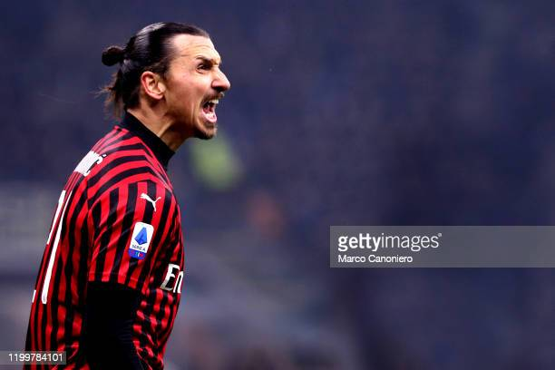 Zlatan Ibrahimovic of Ac Milan celebrate during the the Serie A match between Fc Internazionale and Ac Milan. Fc Internazionale wins 4-2 over Ac...