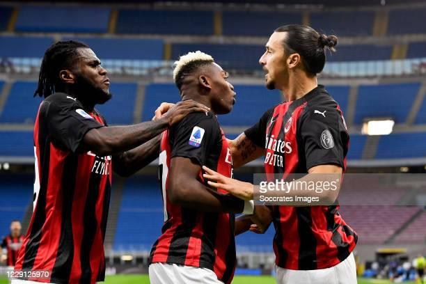 Zlatan Ibrahimovic of AC Milan celebrates 0-1 with Franck Kessie of AC Milan, Rafael Leao of AC Milan during the Italian Serie A match between...