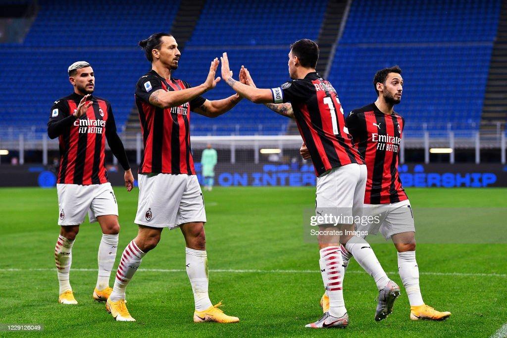 Zlatan Ibrahimovic of AC Milan celebrates 0-2, with Alessio Romagnoli...  News Photo - Getty Images