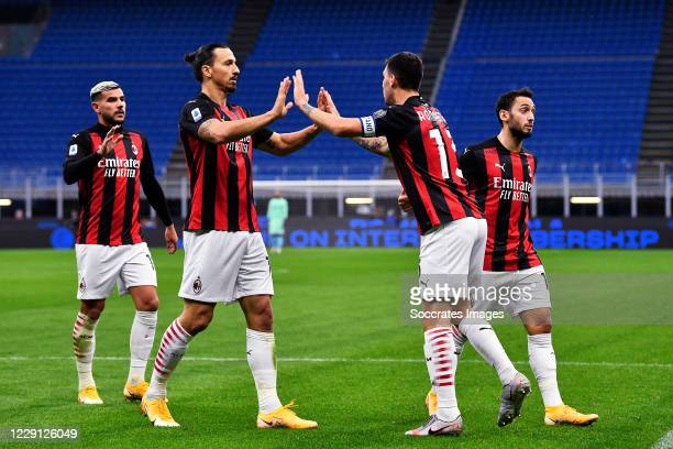 Zlatan Ibrahimovic of AC Milan celebrates 02 with Alessio Romagnoli of AC Milan during the Italian Serie A match between Internazionale v AC Milan at...
