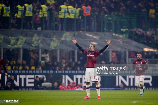 Zlatan Ibrahimovic of AC Milan celebrates 20 during the Italian Serie A match between Internazionale v AC Milan at the San Siro on February 9 2020 in...