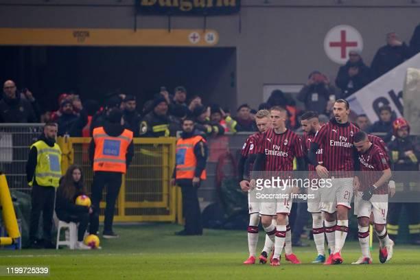 Zlatan Ibrahimovic of AC Milan celebrates 20 with Andrea Conti of AC Milan Ismael Bennacer of AC Milan during the Italian Serie A match between...