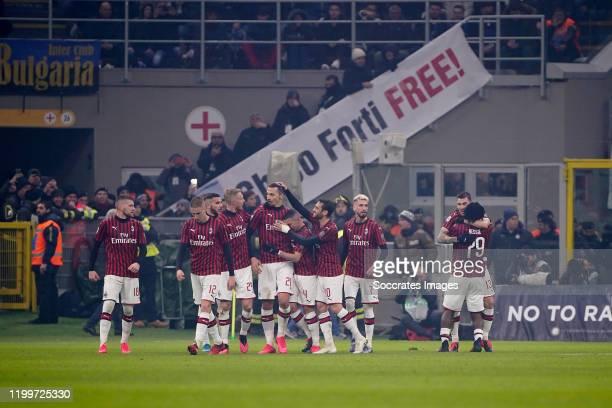 Zlatan Ibrahimovic of AC Milan celebrates 20 with Ante Rebic of AC Milan Andrea Conti of AC Milan Simon Kjaer of AC Milan Ismael Bennacer of AC Milan...