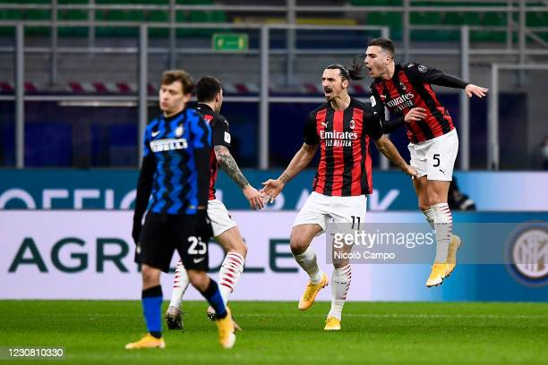 Zlatan Ibrahimovic of AC Milan celebrates after scoring a goal during the Coppa Italia football match between FC Internazionale and AC Milan. FC...