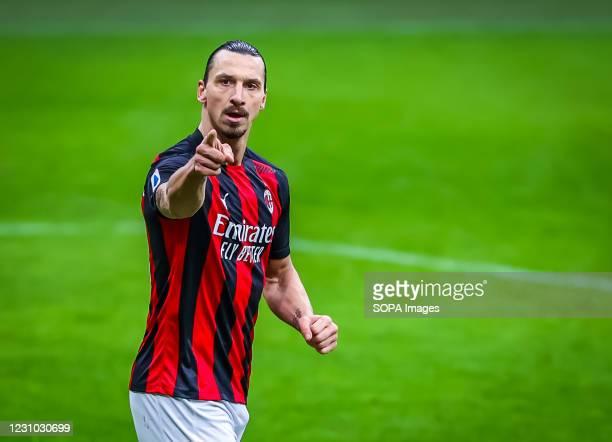 Zlatan Ibrahimovic of AC Milan celebrates after scoring a goal during the Serie A 2020/21 football match between AC Milan and FC Crotone at the San...
