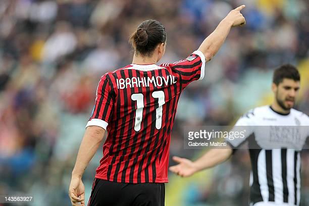 Zlatan Ibrahimovic of AC Milan celebrates after scoring a goal during the Serie A match between AC Siena and AC Milan at Artemio Franchi Mps Arena...