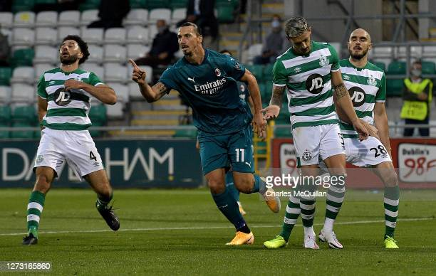 Zlatan Ibrahimovic of AC Milan celebrates after scoring his sides first goal during the UEFA Europa League second qualifying round match between...