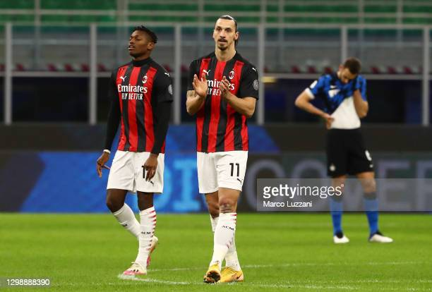 Zlatan Ibrahimovic of AC Milan celebrates after scoring the opening goal during the Coppa Italia match between FC Internazionale and AC Milan at...