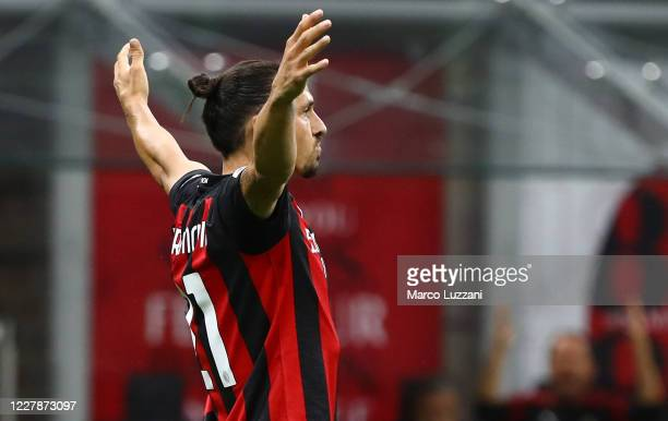 Zlatan Ibrahimovic of AC Milan celebrates after scoring the second goal of his team during the Serie A match between AC Milan and Cagliari Calcio at...