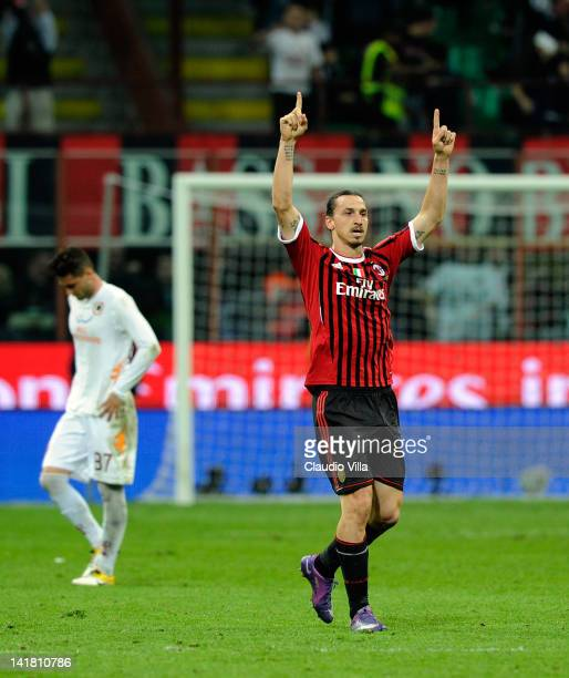 Zlatan Ibrahimovic of AC Milan celebrates after scoring the second goal during the Serie A match between AC Milan and AS Roma at Stadio Giuseppe...