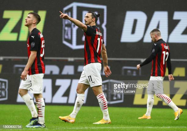 Zlatan Ibrahimovic of AC Milan celebrates after scoring their side's first goal during the Serie A match between AC Milan and FC Crotone at Stadio...