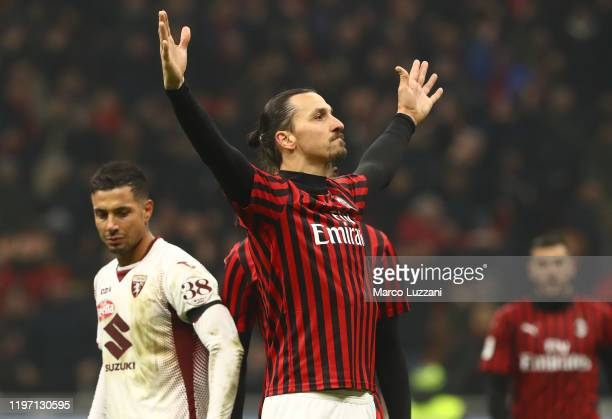 Zlatan Ibrahimovic of AC Milan celebrates his goal during the Coppa Italia Quarter Final match between AC Milan and Torino at San Siro on January 28,...