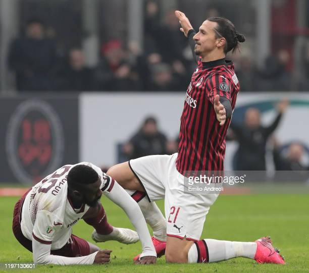 Zlatan Ibrahimovic of AC Milan celebrates his goal during the Coppa Italia Quarter Final match between AC Milan and Torino at San Siro on January 28...