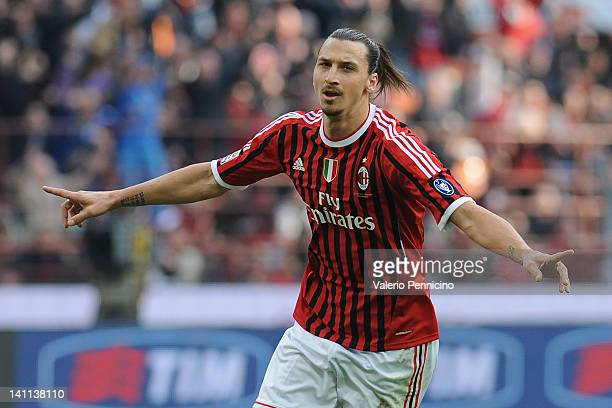 Zlatan Ibrahimovic of AC Milan celebrates his goal during the Serie A match between AC Milan and US Lecce at Stadio Giuseppe Meazza on March 11, 2012...