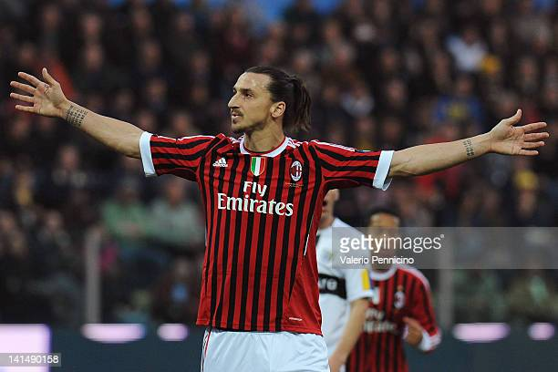 Zlatan Ibrahimovic of AC Milan celebrates his goal during the Serie A match between Parma FC and AC Milan at Stadio Ennio Tardini on March 17 2012 in...