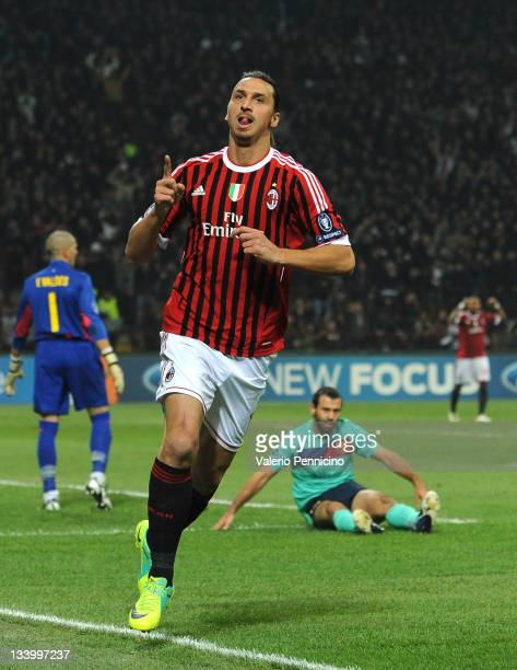 Zlatan Ibrahimovic of AC Milan celebrates his goal during the UEFA Champions League group H match between AC Milan and FC Barcelona at Giuseppe...