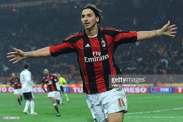 Zlatan Ibrahimovic of AC Milan celebrates scoring his team's second goal during the Serie A match between AC Milan and AC Cesena at Stadio Giuseppe...